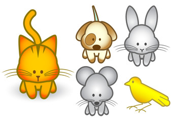 Vector illustration set of cartoon pet animals