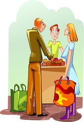 Illustration of couples standing with market