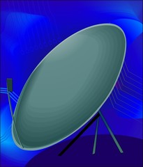 Illustration of dish antenna in blue background