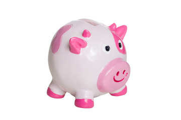 ugly pink and white piggy bank