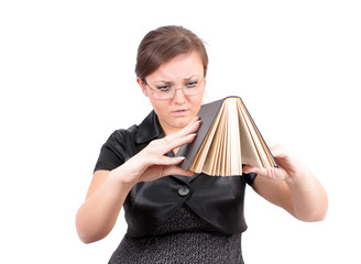 woman  to hold the book, isolated.