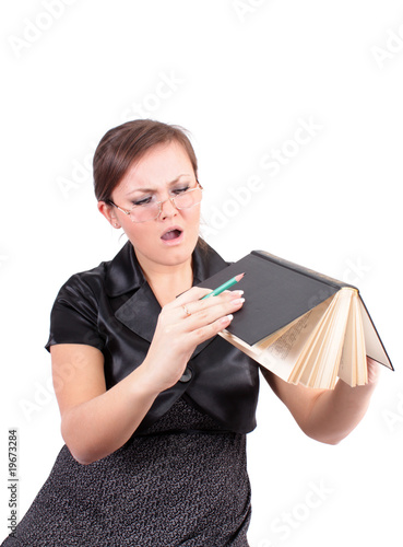 woman with points to hold the book.