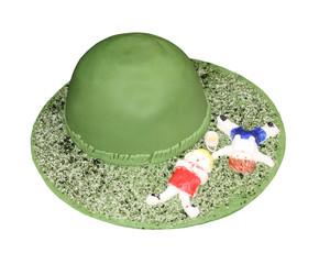 An Unusual Green Iced Novelty Sweet Cake.