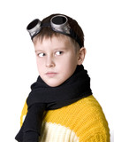 boy in dark glasses pretends to be a pilot poster
