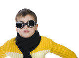 Small boy in dark glasses pretends to be a pilot poster