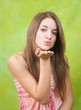 Air-kissing long-haired teen girl