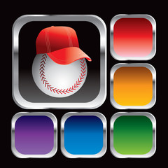 baseball with hat colored square web buttons