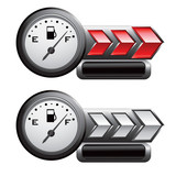gas icon red and white arrow nameplate banners poster