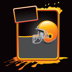 football helmet orange splattered advertisement