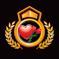 heart and rose orange and black royal display