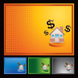 home investment colored halftone banners poster