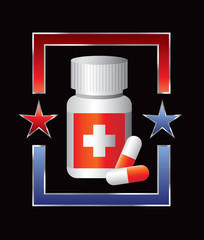 medicine bottle red and blue star frame