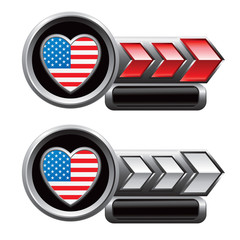 usa heart icon red and white arrow nameplate banners