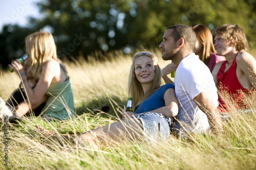 A group of young people sitting in a park, drinking beers