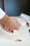 Flu/disease prevention - Washing hands thoroughly with running poster