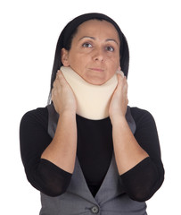 Woman with cervical collar