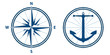compass and anchor in blue tones, vector mode
