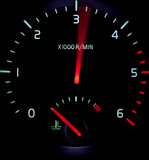 Acceleration - close-up view of a revolution counter tachometer poster
