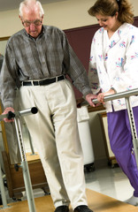 Man in physical rehabilitation