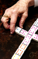Woman playing a dominoes