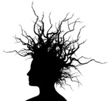 Vector Illustration of the head of a woman with branches hair. - 19691809