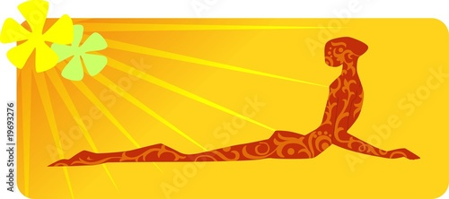 Illustration of yoga man posing in yellow background