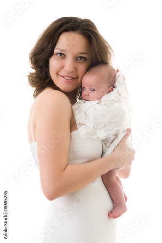 Smiling mother with baby girl