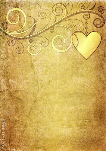 Old yellow paper with gold heart