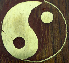 yin yang, marqueterie bois métal