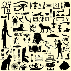 Egyptian Symbols and Signs silhouettes