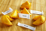 fortune cookies with opportunity, wealth, success messages poster