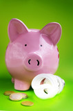 piggy bank with efficient light bulb and Euro coins poster