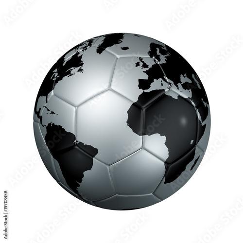 football ball. Silver soccer football ball