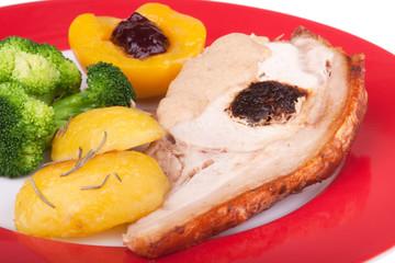 Schweinebraten mit Kartoffel und Brokkoli