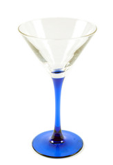 Glass for martini with blue drumstick