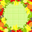 bright fruit frame and cloth background