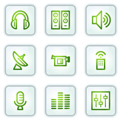 Media web icons, white square buttons series