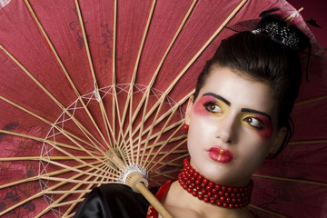 Sexy geisha portrait in studio
