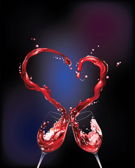 Red wine spilling and forming heart shape with dark background