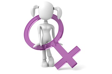3D woman with female symbol