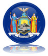 New York State Round Flag Button (USA America Vector Reflection)