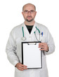 Doctor with clipboard and blank paper