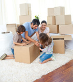 Fototapety Animated family packing boxes