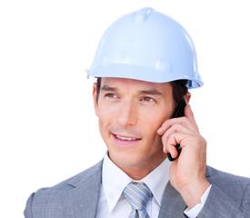 Self-assured male architect talking on phone