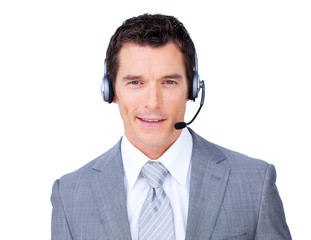 Self-assured businessman using headset