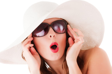 Glamour woman wearing summer straw hat