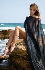 beautiful nude young girl in the beach