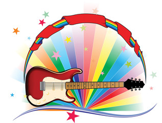rainbow guitar light with stars and banner