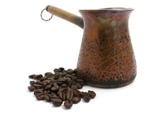 Old Coffee pot and coffee beans