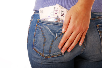 Woman with twenty pound notes in her pocket